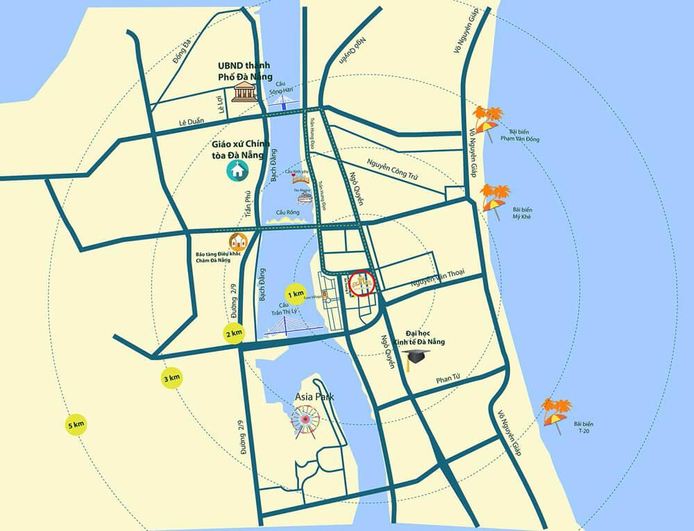 Vị trí căn hộ Monarchy Đà Nẵng