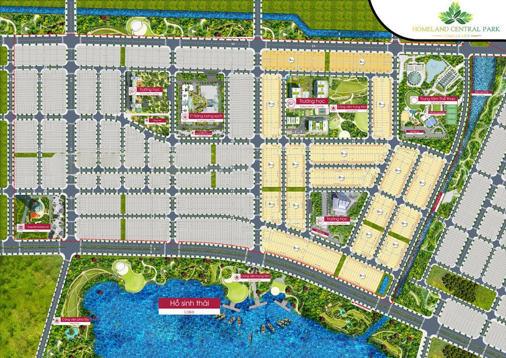 Sơ đồ phân lô Dự án Homeland Central Park Đà Nẵng (Bên phải đã mở bán, đã bàn giao cho khách hàng)