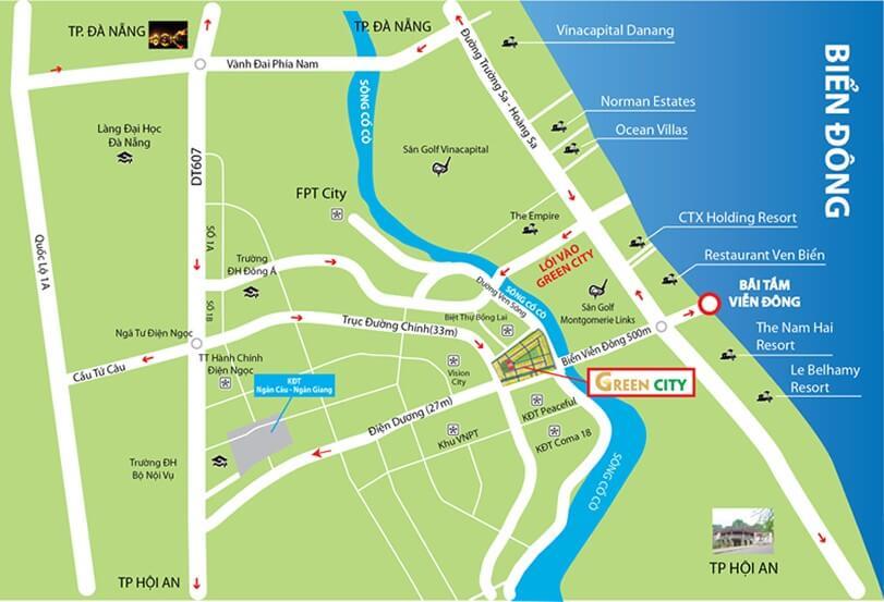 Vị trí Khu Đô Thị Đất Quảng Green City Quảng Nam