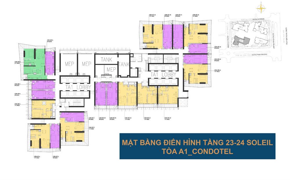 Mặt bằng điển hình tầng 23-24 tòa A1 - Wyndham Soleil Đà Nẵng