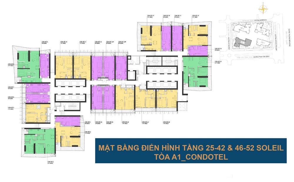 Mặt bằng điển hình tầng 25-42 và 46-52 tòa A1 - Wyndham Soleil Đà Nẵng