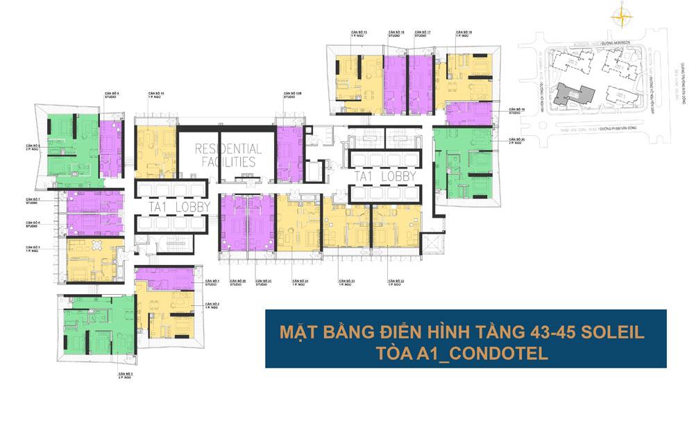 Mặt bằng điển hình tầng 43-35 tòa A1 - Wyndham Soleil Đà Nẵng