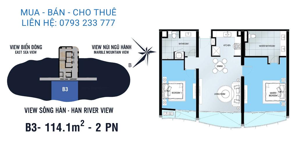 Azura Đà Nẵng mẫu B3 loại căn hộ 2 phòng ngủ