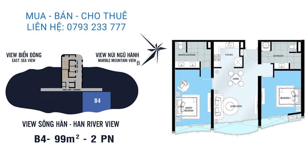 Azura Đà Nẵng mẫu B4 loại căn hộ 2 phòng ngủ