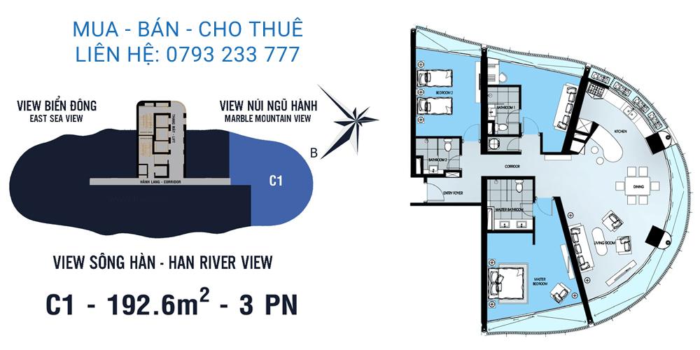 Azura Đà Nẵng mẫu C1 loại căn hộ 3 phòng ngủ