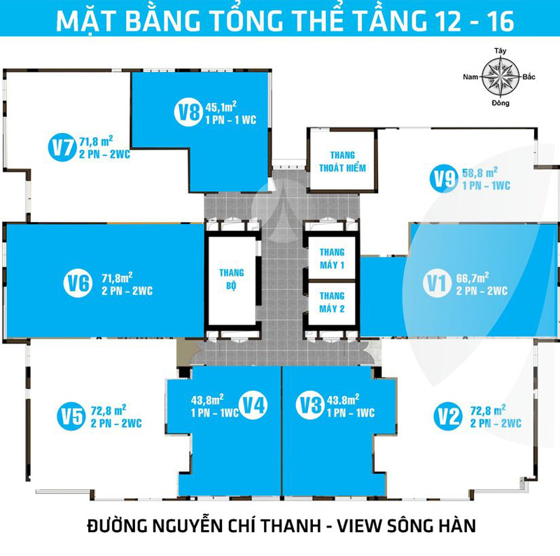 Mặt bằng tầng 12-16 Căn hộ Lapaz Tower Đà Nẵng