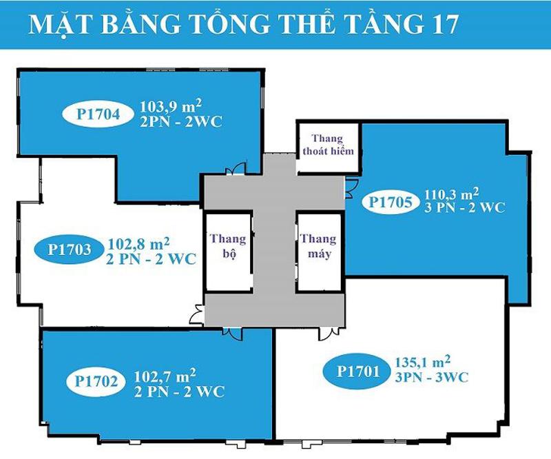 Mặt bằng tầng 17 Căn hộ Lapaz Tower Đà Nẵng