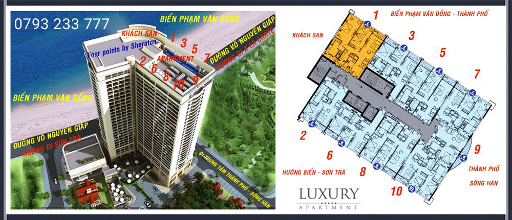 Phân bổ vị trí các căn hộ tại Luxury Apartment Đà Nẵng