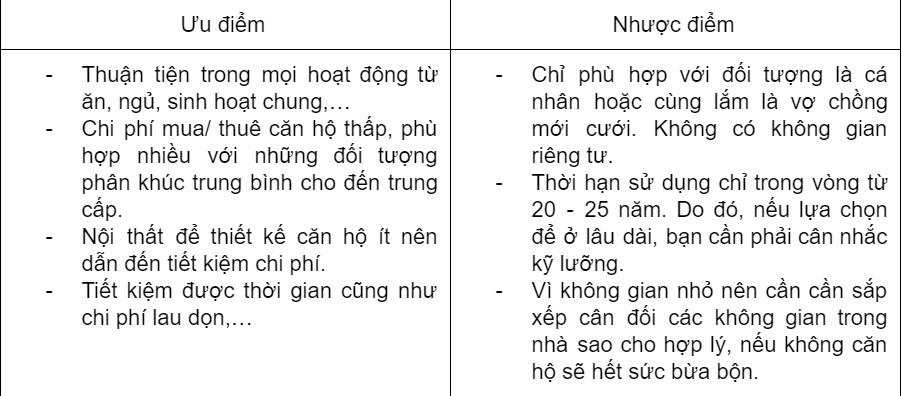 Uu Nhuoc Can Ho Studio