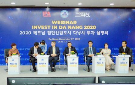 Lãnh đạo các sở ngành Đà Nẵng trao đổi trực tuyến với các doanh nghiệp Hàn Quốc để giới thiệu môi trường đầu tư