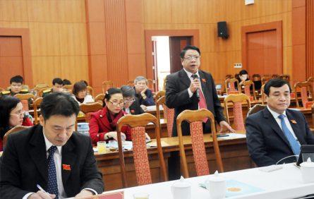 Đại biểu HĐND tỉnh thảo luận tại tổ theo các nội dung được chủ tọa kỳ họp gợi ý.
